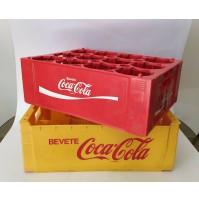 ♥ 2 CASSE COCA COLA VINTAGE IN PLASTICA ROSSA E GIALLA CASSETTE X BOTTIGLIE COKE