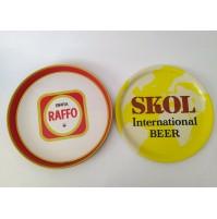 ♥ 2 VASSOI BIRRA RAFFO TARANTO IN LATTA SKOL INTERNATIONAL PLASTICA VINTAGE BAR