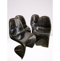 ♥ 4 SEDIE NERO LUCIDO DESIGN VINTAGE TIPO PANTON SPACE AGE CHAIR INTERIOR DECOR