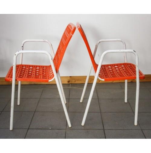 Sedie Da Bar In Plastica.6 Sedie In Metallo E Plastica Arancione Da Bar Vintage Design Anni 70