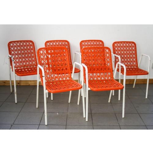 6 sedie in metallo e plastica arancione da bar vintage for Sedie vintage design