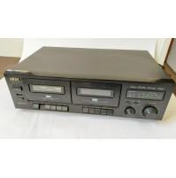 ♥ AKAI HX-27 W STEREO DOUBLE CASSETTE DECK REGISTRATORE AUDIO HIFI not tested