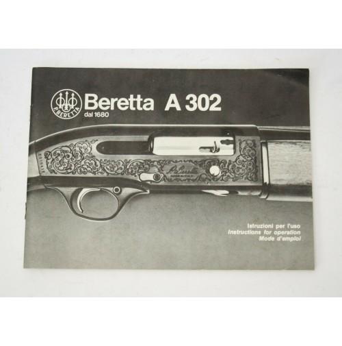 ♥ BERETTA A 302 A302 ISTRUZIONI PER L'USO MANUALE VINTAGE ANNI 80 N18