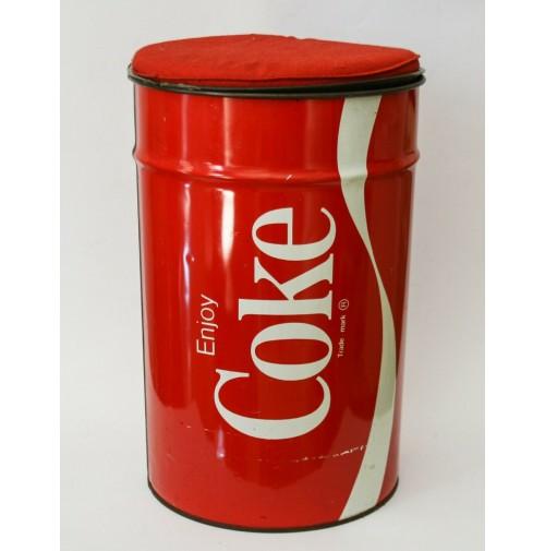 ♥ BIDONE IN LATTA POUF COCA COLA COKE  CON COPERCHIO E CUSCINO VINTAGE ANNI 80