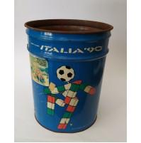 ♥ BIDONE ITALIA '90 MONDIALI DI CALCIO IN LATTA VINTAGE CIAO COPPA DEL MONDO