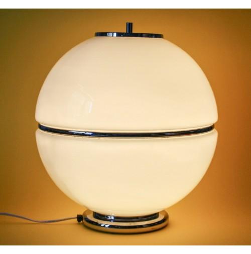 ♥ BIG BOULE LAMPADA DA TAVOLO SFERA IN VETRO BIANCO VINTAGE ANNI 70 42cm mazzega
