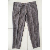 ♥ BURBERRY LONDON PANTALONI UOMO LANA COTONE TG 50 ita A QUADRI MARRONI