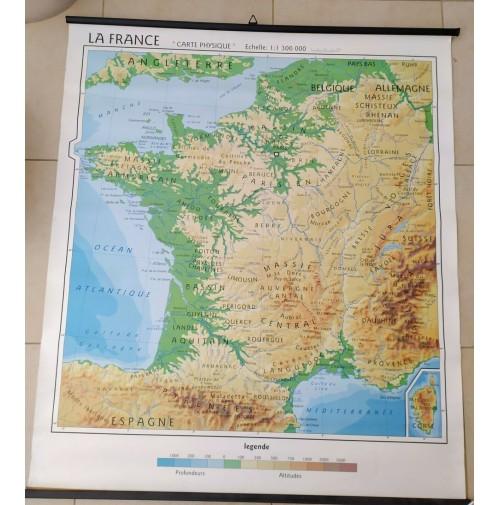 Cartina Giografica.Cartina Geografica Scolastica Francia Fisica Politica Bifacciale Scuola Mappa