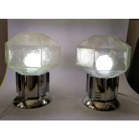 ♥ COPPIA LAMPADA DA TAVOLO CUBIC VINTAGE DESIGN GAETANO SCIOLARI VETRO CHROMED