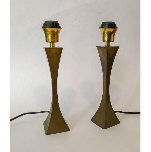 ♥ COPPIA LAMPADE OTTONE VINTAGE PIRAMIDE DESIGN TONELLO M. GRILLO HIGH SOCIETY