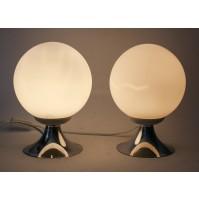 ♥ COPPIA LAMPADE SPACE AGE DESIGN BALL LIGHT VINTAGE ANNI 70 CHROME VETRO BIANCO