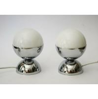 ♥ COPPIA LAMPADE SPACE AGE DESIGN LITTLE BALL LIGHT VINTAGE ANNI 70 CHROME VETRO