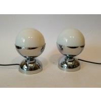 ♥ COPPIA LAMPADE SPACE AGE DESIGN LITTLE BALL LIGHT VINTAGE ANNI 70 CHROME VETRO