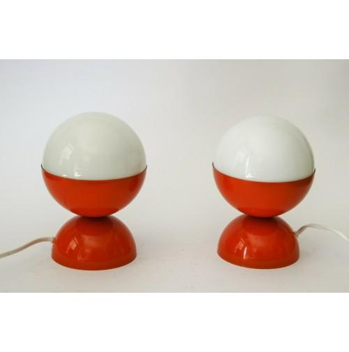 ♥ COPPIA LAMPADE SPACE AGE DESIGN LITTLE BALL LIGHT VINTAGE ANNI 70 ORANGE VETRO