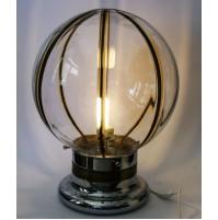 ♥ ENORME LAMPADA BOULE IN VETRO VINTAGE SPACE AGE ANNI 70 OTTONE CROMATA DESIGN