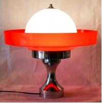 ♥ ENORME SPACE AGE LIGHT VINTAGE DESIGN ANNI 70 CHROME VETRO MURANO UFO DISCO