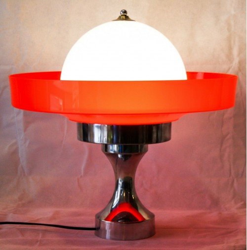 ♥ ENORME SPACE AGE LIGHT VINTAGE DESIGN ANNI 70 CHROME VETRO MURANO UFO DISCO