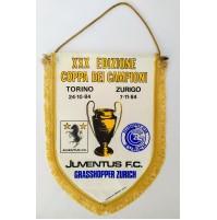 ♥ GAGLIARDETTO JUVENTUS GRASSHOPER ZURICH XXX COPPA DEI CAMPIONI 1984 1985