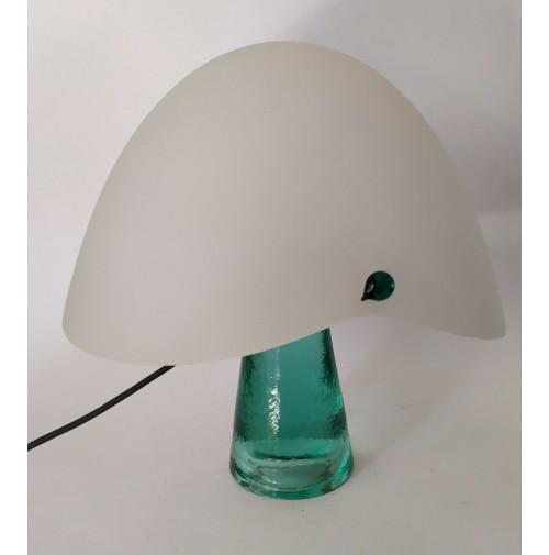 Grande Lampada Da Tavolo Av Mazzega Vintage Design Vetro Verde Mushroom Space