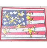 ♥ KEITH HARING PUZZLE 1000 PEZZI QUADRO CON CORNICE BANDIERA AMERICA USA VINTAGE