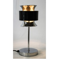 ► LAMPADA DA TAVOLO DIABOLO CHROME BLACK VINTAGE SPACE AGE DESIGN stilnovo