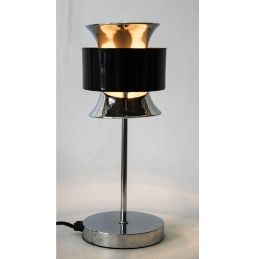 ► LAMPADA DA TAVOLO DIABOLO CHROME BLACK VINTAGE SPACE AGE DESIGN stilnovo