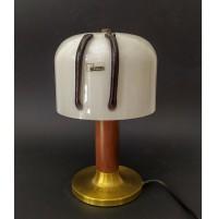 ♥ LAMPADA DA TAVOLO ESPERIA VINTAGE DESIGN ANGELO BROTTO VETRO BIANCO OTTONE
