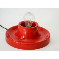 ♥ LAMPADA DA TAVOLO IN CERAMICA ROSSA VINTAGE DESIGN ANNI 70 POP AGE gabbianelli