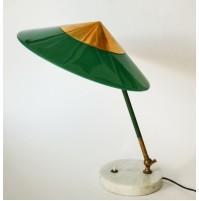 ♥ LAMPADA DA TAVOLO STILUX VINTAGE ANNI 50 DESIGN MIDCENTURY OTTONE LIGHT VERDE
