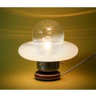 ♥ LAMPADA DA TAVOLO VINTAGE ANNI 70 UFO CERAMICA VETRO CHROMED SPACE AGE DESIGN