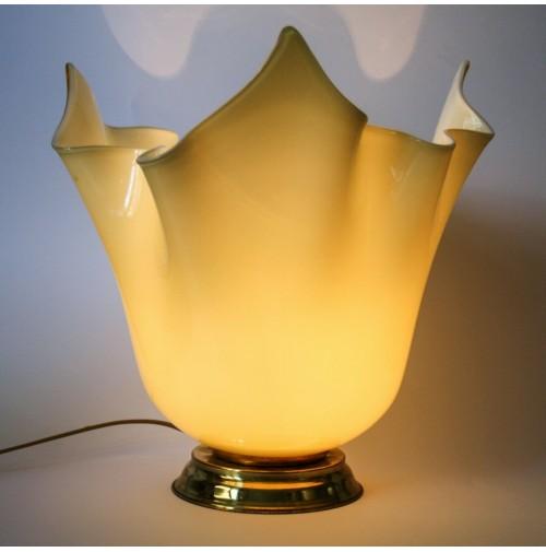 ♥ LAMPADA FAZZOLETTO VETRO DI MURANO VENINI VINTAGE DESIGN ANNI 80 AMBRA 40cm