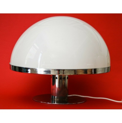 ♥ LAMPADA GUZZINI VINTAGE DESIGN ANNI 70 SPACE AGE BIANCA MUSHROOM CHROME LIGHT