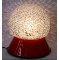 ♥ LAMPADA VINTAGE BOULE IN VETRO PULEGOSO BASE VETRO ROSSA SPACE AGE ANNI 70