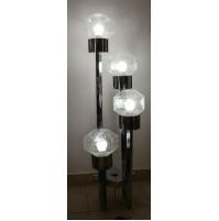 ♥ PIANTANA LAMPADA DESIGN GAETANO SCIOLARI CHROMED FLOOR CUBIC ANNI 70 SPACE AGE