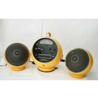 ♥ RADIO WELTRON 2001 CON 2 CASSE SPEAKER GIALLO VINTAGE SPACE AGE BALL DESIGN