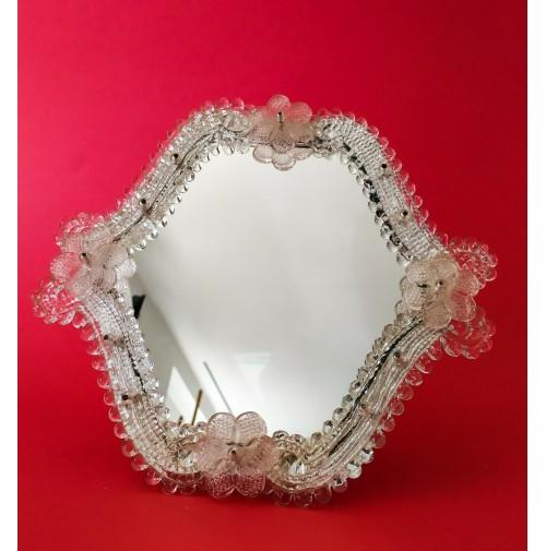♥ SPECCHIO DA TAVOLO VINTAGE IN VETRO DI MURANO ROSE barovier venetian boudoir