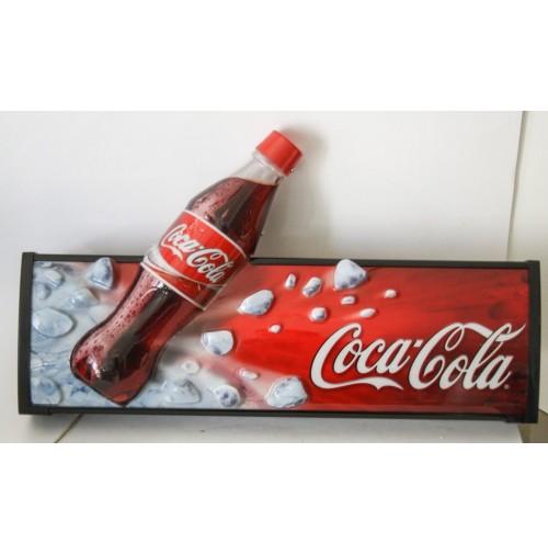 ► TABELLA INSEGNA COCA COLA LUMINOSA VINTAGE DESIGN ANNI 80 COKE 3D base legno