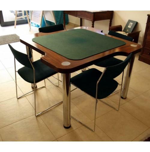 Tavolo E Sedie Anni 70.Tavolo Da Poker Da Gioco 4 Sedie Cromate Legno Anni 70 Vintage