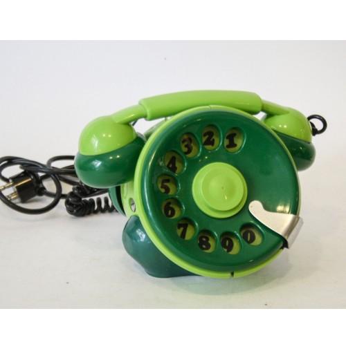 ► TELEFONO BOBO TELCER ABBA PHONE VINTAGE DESIGN SERGIO TODESCHINI ANNI 70 VERDE