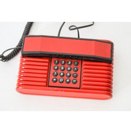 ► TELEFONO VINTAGE DESIGN ANNI 80 MEMPHIS SOTTSASS STYLE TUO ONDA ROSSO INSIP