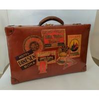 ♥ VALIGIA VINTAGE SUITCASE ADESIVI HOTEL MIDCENTURY DESIGN ANNI 50 marrone bag