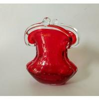 ♥ VASO IN VETRO DI MURANO BULLICANTE VINTAGE DESIGN RUBY RED BAROVIER poli borsa