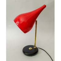 ♥ VINTAGE CONIC LIGHT LAMPADA DA TAVOLO ROSSA IN STILE MID CENTURY era stilnovo