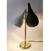 ♥ VINTAGE LAMPADA DA TAVOLO BIANCA NERA CONO BRASS STILE MIDCENTURY era stilnovo