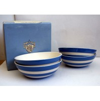 4 CEREAL BOWLS CORNISH BLUE by T.G. GREEN CORNISWARE COPPE IN CERAMICA piatti