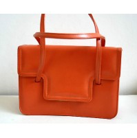 BORSA DONNA VINTAGE BAG VERA PELLE ANNI 70 con manici space age orange pop