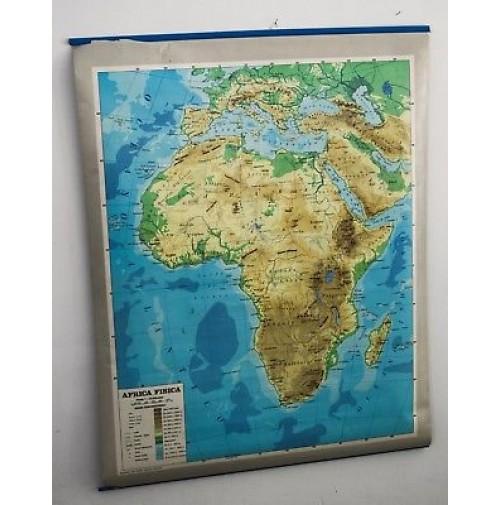 Cartina Giografica Africa.Cartina Geografica Africa Fisica Politica Scolastica Scuola Mappa Anni 80