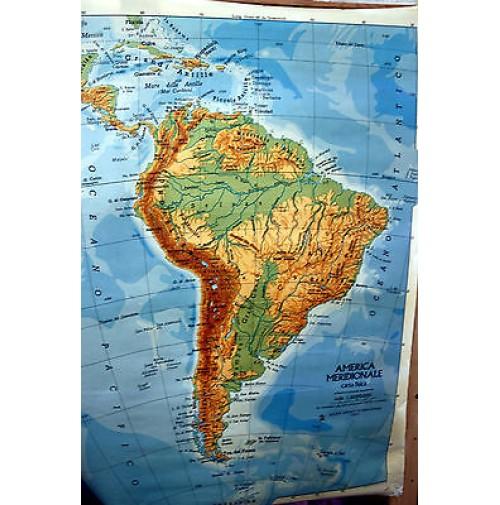 America Politica Cartina.Cartina Geografica America Sud Fisica Politica Scolastica Scuola Mappa Anni 80