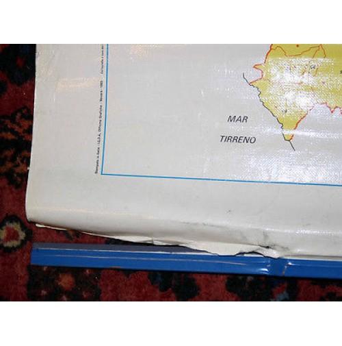 Cartina Geografica Fisica Puglia.Cartina Geografica Scolastica Puglia Basilicata Fisica Bifacciale Anni 80