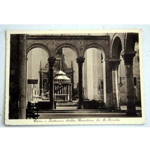 CARTOLINA BARI INTERNO BASILICA S. NICOLA 1938 VIAGGIATA Ficarelli